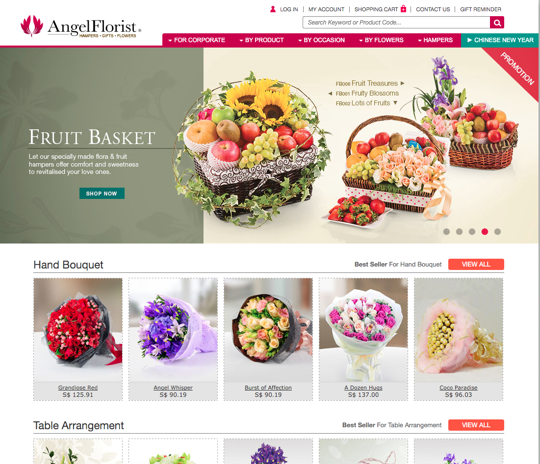 Angel Florist Singapore Website