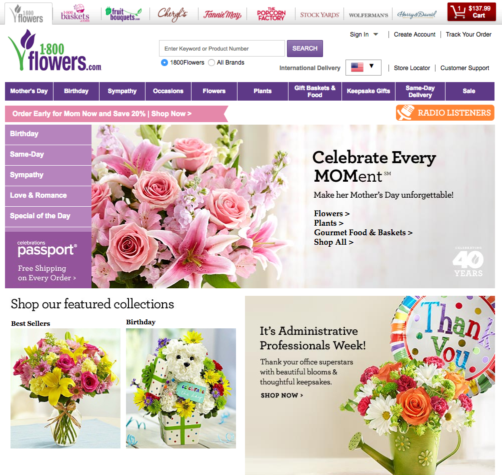 1-800 flowers.com Website