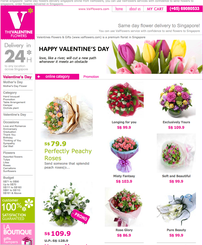 Valflowers Singapore Website
