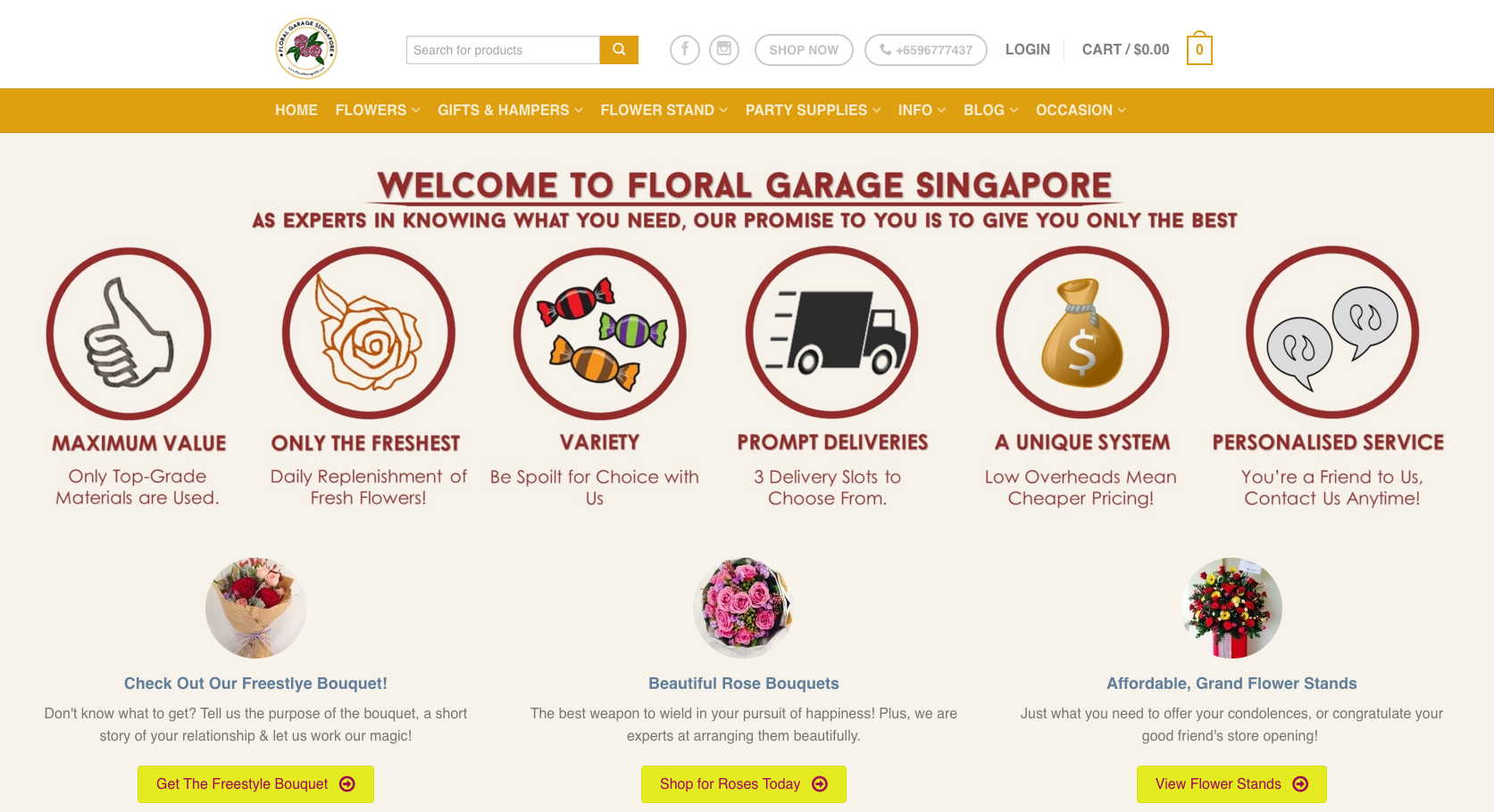 Floral Garage Singapore Website